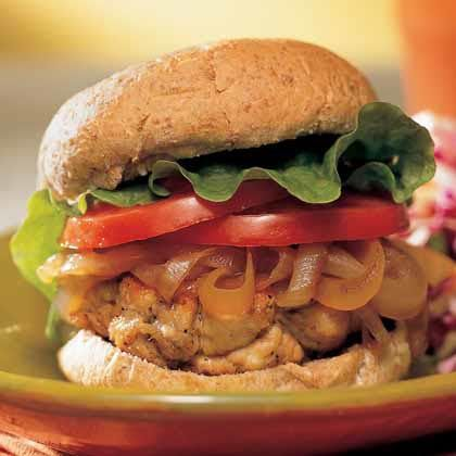 Juicy Burger. If you think a turkey burger is a blander burger, think again. Seasoned with Cajun spices and caramelized teriyaki onions, this recipe gets raves from reviewers. It's hard to believe it's got fewer than 300 calories and less than 5 grams of fat.