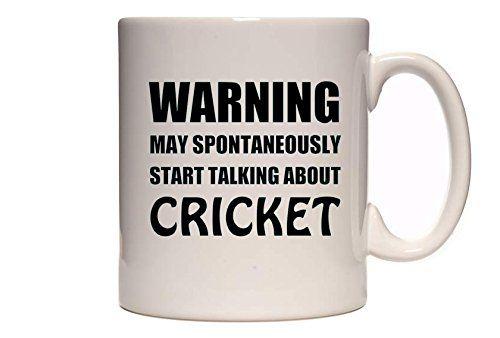 Warning - May Spontaneously Start Talking About Cricket - Funny Novelty Tea / Coffee Mug / Cup