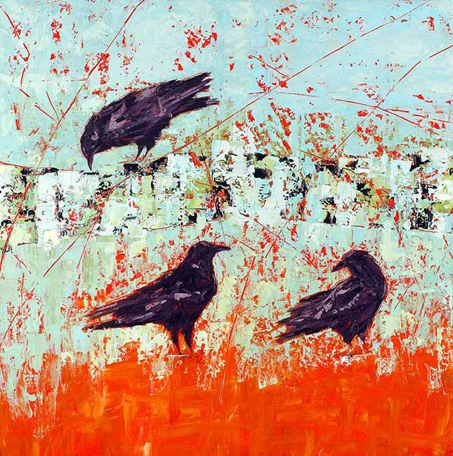 Three Crows on an Orange Field, by Janice Sugg