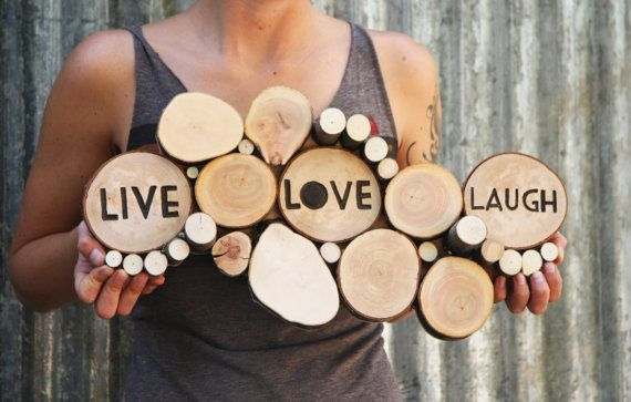 Live Love Laugh Tree Slice Sculpture Home by WildSliceDesigns, $95.00