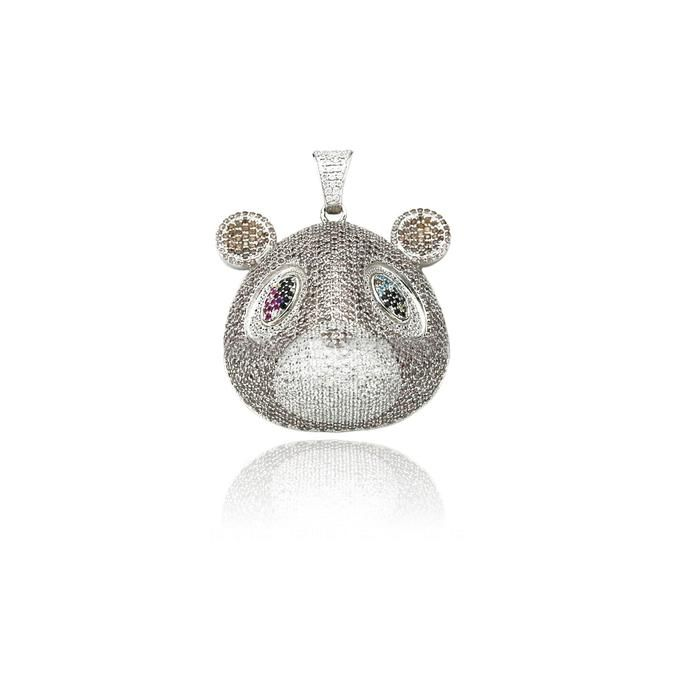 Kanye West College Dropout Bear Pendant With Rope Chain Necklace In Silver Bear Pendant Rope Chain Chain Necklace