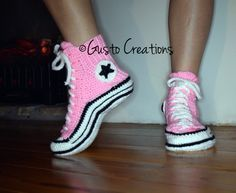 Adult Converse Slippers Crochet PDF pattern High by GustoCreations
