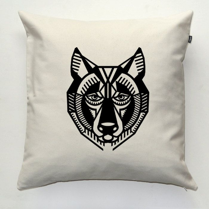 Wolf, Decorative pillow cover, pillowcase, gift, cushion case, decorative throw pillow, sofa ecru pillow by PSIAKREW on Etsy