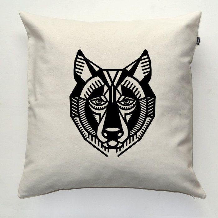 Wolf, Decorative pillow cover, pillowcase, gift, cushion case, decorative throw pillow, sofa ecru pillow by PSIAKREW on Etsy
