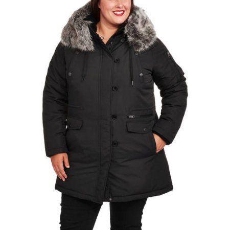 Faded Glory Women's Plus-Size Heavyweight Fur-Trim Parka Coat, Size: 1XL, Black