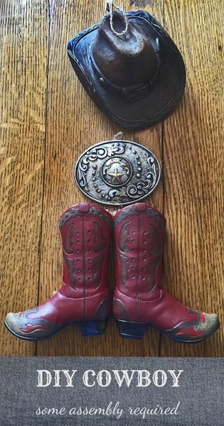 Cowboy Christmas  boot, hat and belt buckle ornaments make a fun mini western cowboy country creation.