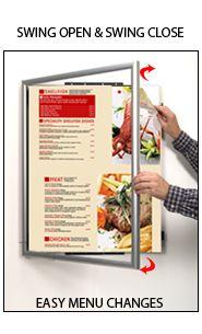 Swingframe Wide-Face Restaurant Menu Frames- Swing Open, Change Menus Quickly