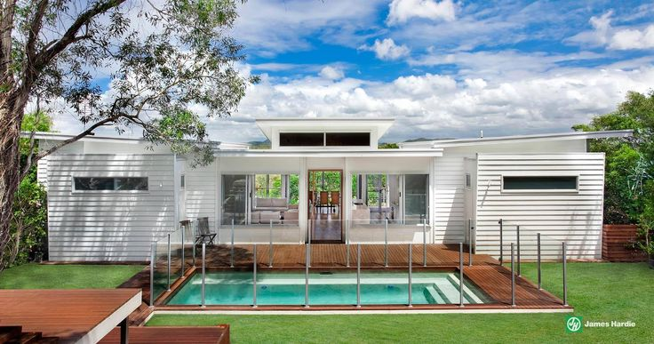 Boxy house design broken up with a skillion roof, finished with a classic weatherboard #house #cladding #jameshardie #exterior #coastal #singlestorey #australia #linea #weatherboard #contemporary #skillion
