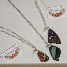 Butterfly Wing Necklace : Made in Canada from REAL butterfly wings. The wings are humanely collected after the end of the butterfly's natural life.