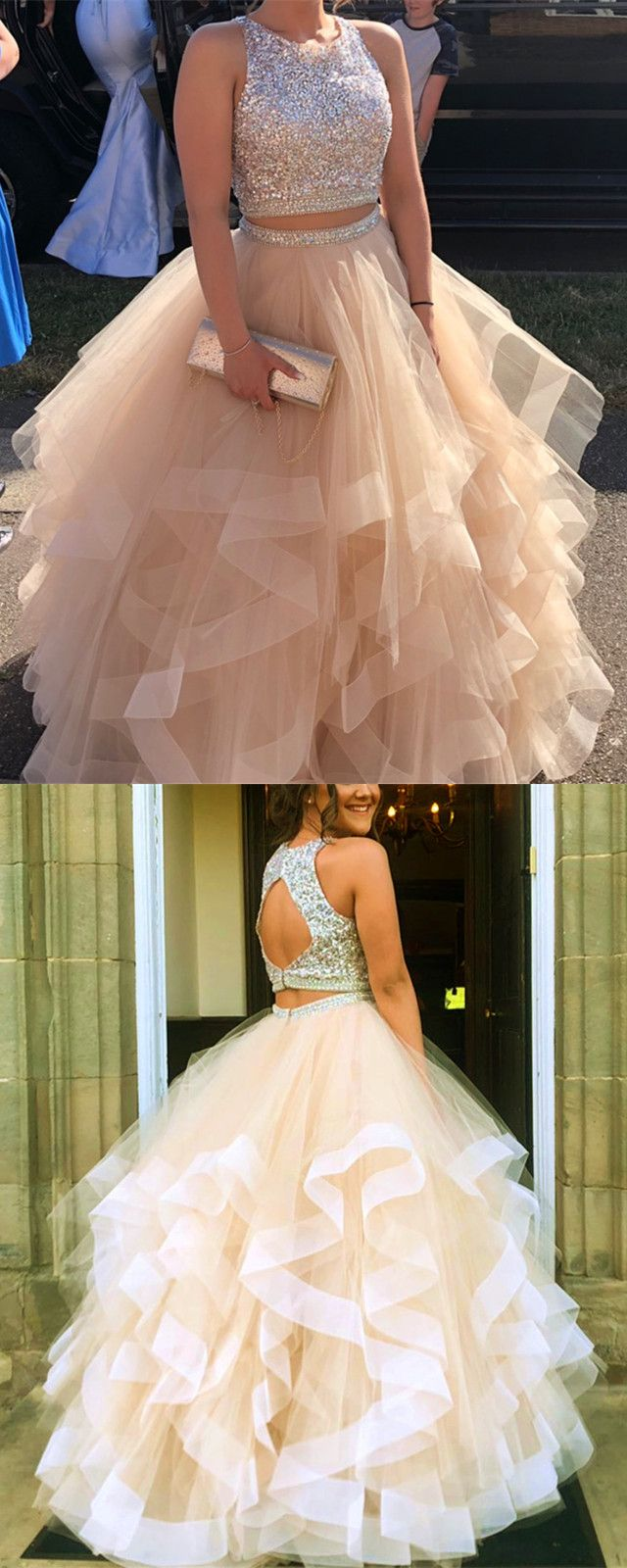 Sequin Beaded Ruffle Organza Two Piece Ball Gowns Prom Dresses 2018 – alinanova