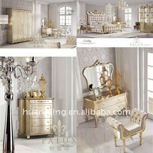 Neoclassical Antique Gold Furniture New French Style Gold Bedroom Set Furniture Loyal Luxury Bedroom