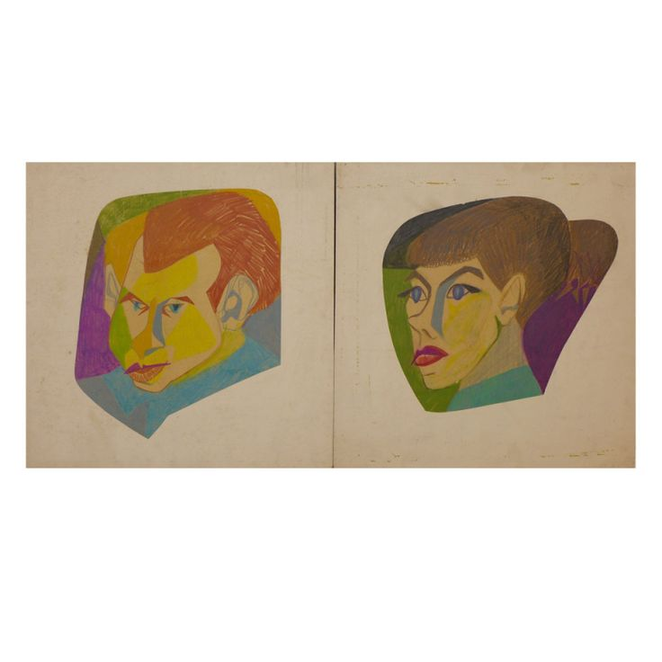 Caricatures of Eero Saarinen and Lilian Swann Saarinen United States c. 1945 Full-color caricatures of Lilian Swann Saarinen and her husband Eero Saarinen, done by Lilian at Cranbrook, c. 1945. An artist and sculptor, Lilian (1912-95) studied with Archipenko at the Art Student's League in New York, and with Carl Milles at Cranbrook before marrying Eero in 1939 (they divorced in 1951). The photograph in image 3 shows Lilian in her studio, with similar works on the wall. Unframed. From the…