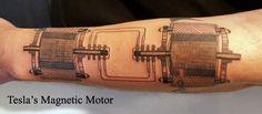 Tesla magnetic motor tattoo