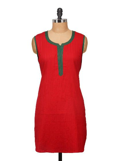 Sleeveless Red Pintucked Kurta