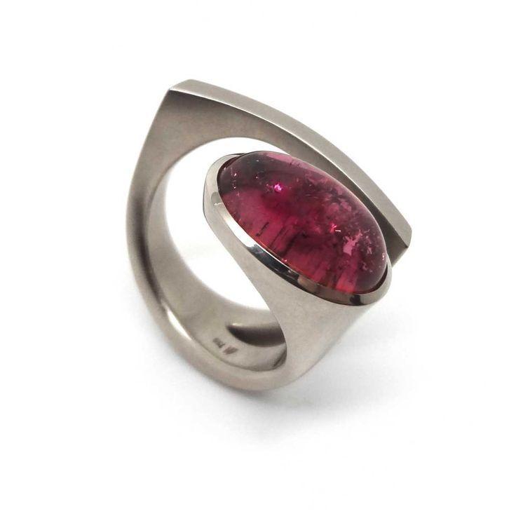 ORRO Contemporary Jewellery Glasgow -Angela Hubel - Pink Tourmaline Laguna Ring - Modern Gold & Pink Tourmaline Rings by Angela Hubel at ORRO Glasgow