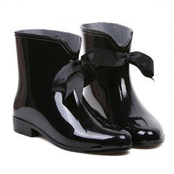 $10.04 Sweet Women's Rain Boots With Solid Color and Ribbon Design