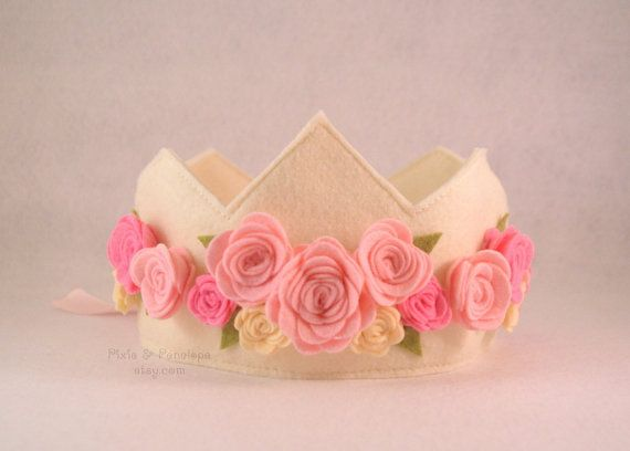 Felt Rose Crown Princess Crown Pink Cream by pixieandpenelope