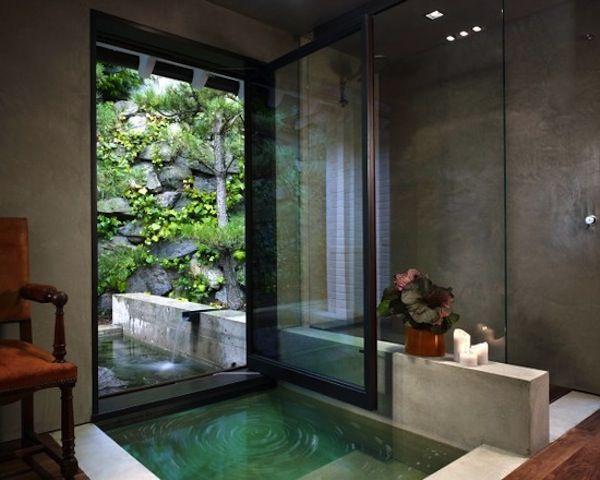 Beautiful #zen #bathroom #design with sunken tub and outdoor area. Love it!