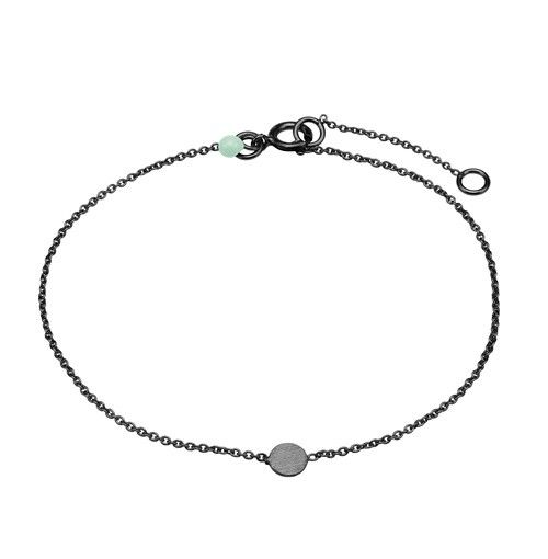 Bracelet, coin, mint dot, black plated sterling silver