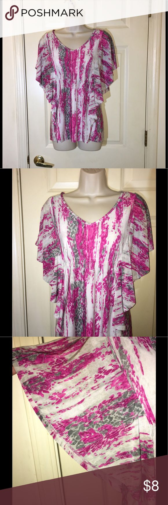Isabella Rodriguez Batwing Top Large Pink and grey print top.  Batwing style sleeves.  V-neck with slight gathering under bustline to create slimming effect of top.  Size large.  From Isabella Rodriguez.  Excellent condition.  Important:   All items are freshly laundered as applicable prior to shipping (new items and shoes excluded).  Not all my items are from pet/smoke free homes.  Price is reduced to reflect this!   Thank you for looking! isabella rodriguez Tops Blouses