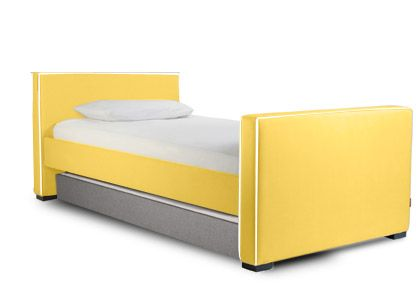 Modern Dorma Upholstered Twin Bed with Trundle  - low headboard and regular footboard. Modern nursery furniture by Monte Design