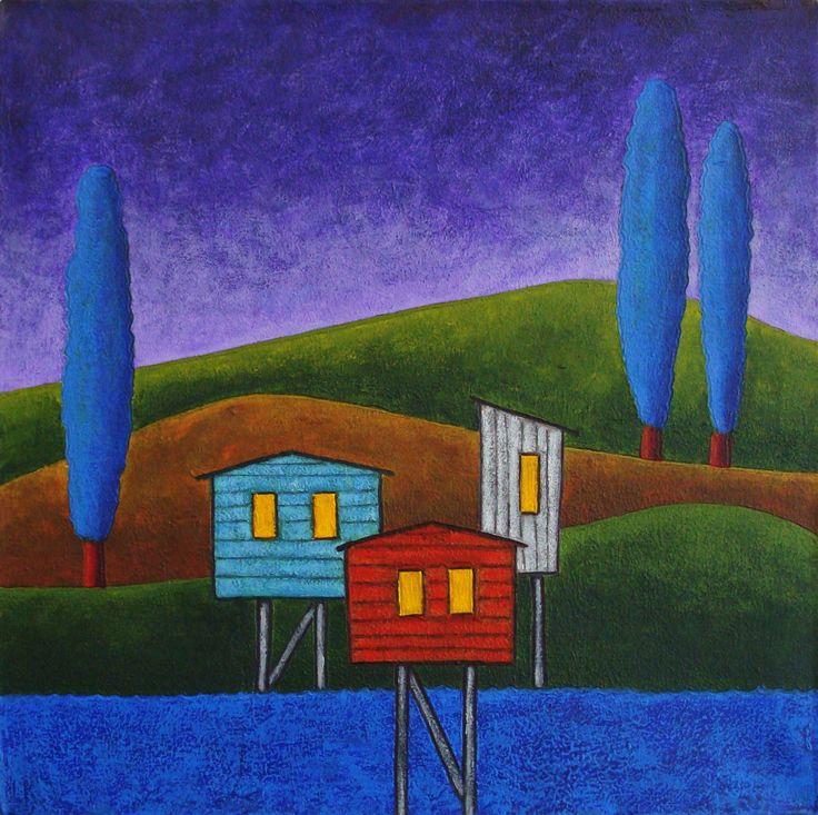 Palafitos - by Daniel Ponce / acrylic painting art / Chiloé / Noche / acrilico sobre tela www.facebook.com/trazosdesol