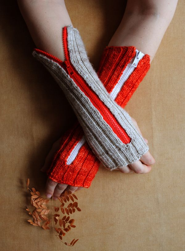 Zippered Hand Warmers - the purl bee, this is a start to finish knitting project but I wonder if I could use old sweaters to make these? I think so!