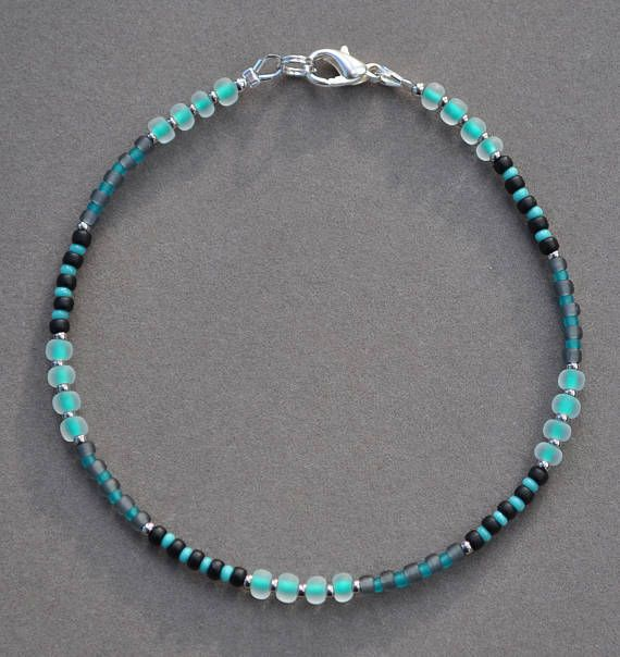 Green Black and Gray Beaded Anklet
