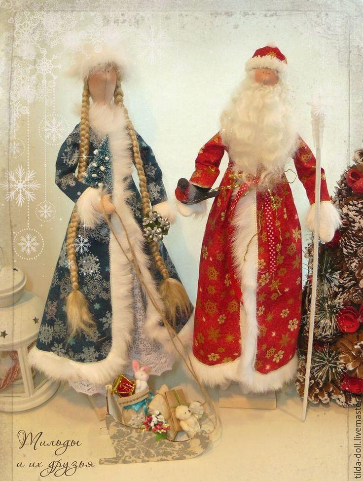 Купить Дед Мороз и Снегурочка - тильдашоп, tilda, tildashop, куклы тильды, в…