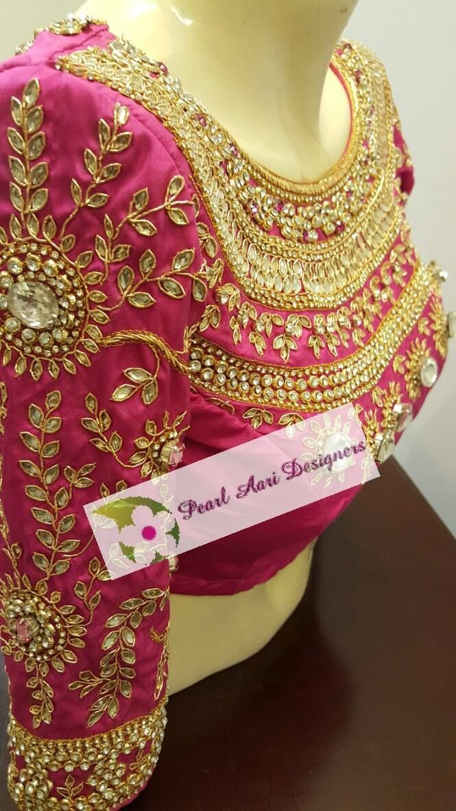 beautiful design for bridal blouse...!!@!@!! it shows a gorgeous stone work look for wedding women........!@!@! #weddingblouse #bridallook  #covaiweddingshoppers
