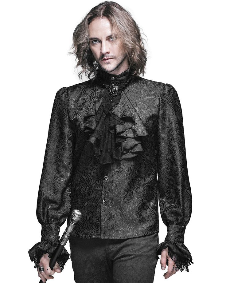 Stunning new long sleeve mens gothic shirt by Devil Fashion. Cut from soft black sateen polyamide fabric with unique debossed jacquard paisley pattern. Long sleeves with single cuffs featuring matching button fastenings and frilled lace & fabric embellishments! | eBay!