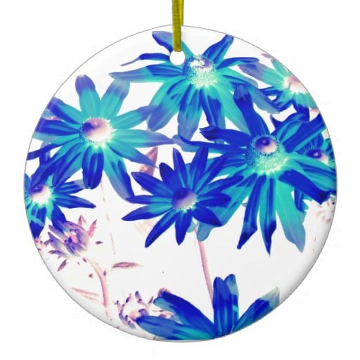 Blue flowers christmas ornaments