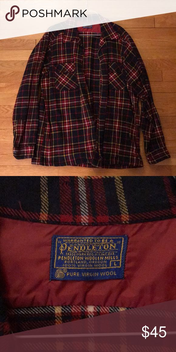 Vintage Pendleton Flannel Size Large, Wool and Warm Pendleton Shirts Casual Button Down Shirts