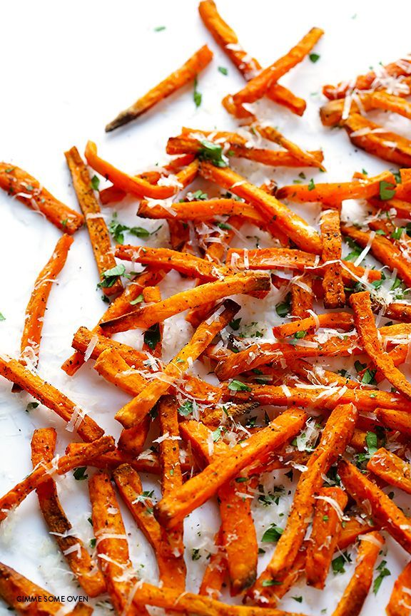 Baked Parmesan Sweet Potato Fries | gimmesomeoven.com
