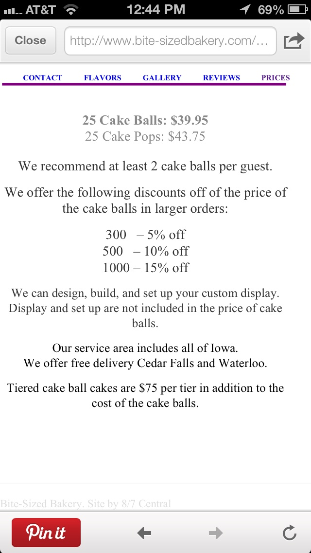 Cake pop prices in Iowa