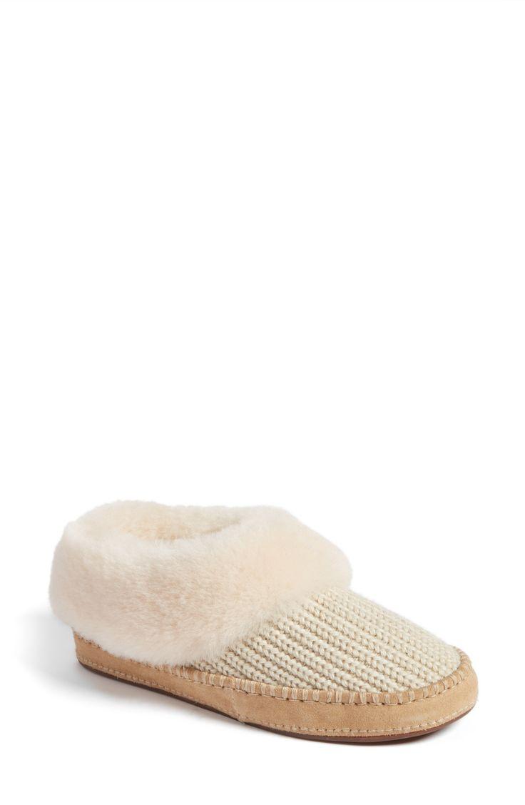 Wrin Rib-Knit & Genuine Shearling Slipper