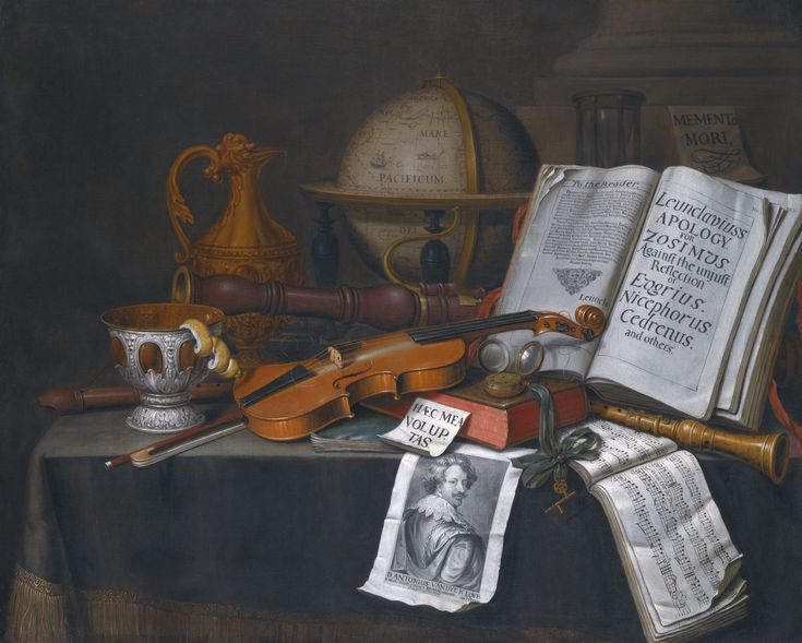 """Still Life with a Globe"" (abbr) by Edwaert Collier. Date not stated in auction listing or catalogue note. Oil on canvas. Nice trompe l'oeil/vanitas painting. Translation of the note next to book is ""This is my pleasure"". Image at bottom is Sir Anthony van Dyck. Offered for auction 10 July 2014 at Sotheby's London. Pre-auction estimate £80,000-120,000. (abt. $134,000-$201,000USD). Price realized: £176,500GBP ($302,486USD)"