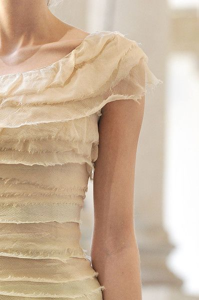 Luisa Beccaria SS 2012  ~  Inspiration ~ the raw edging gives this outfit such a delicate and fragile look..... and love the way it is simply extended in the cut from the neck to give a cap sleeve.  Clever