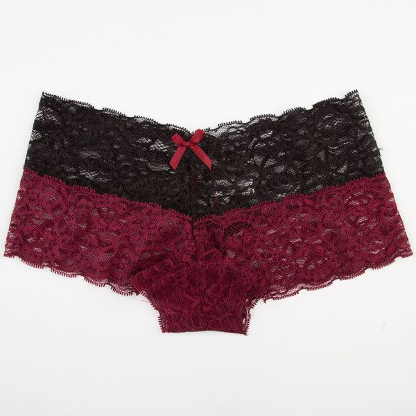 Double Lace Boyshorts ($3.97) ❤ liked on Polyvore featuring intimates, panties, underwear, undergarments, bottoms, bras and panties, burgundy, lace panties boyshorts, boy short panties and lace boy short panties