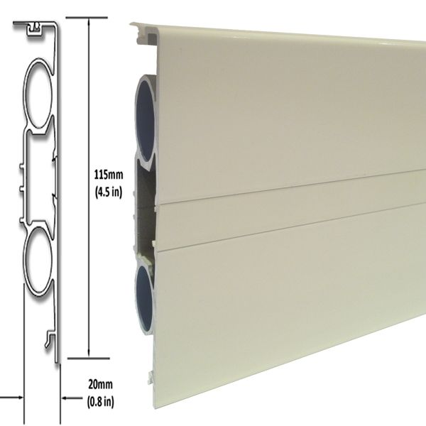 This type of skirting is called Deco PR and is available from ThermaSkirt. ThermaSkirt replaces standard wooden skirting boards with skirting board radiators. They come in many profiles and colours such as Vintage Ivory as seen in this picture