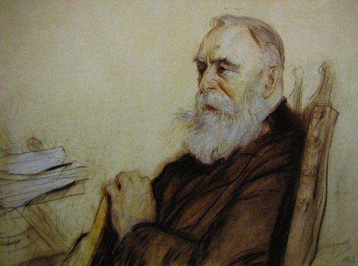 В. А. Серов Портрет Б. Н. Чичеринова 1902 картон, уголь, цв. карандаш, пастель, итальянский карандаш