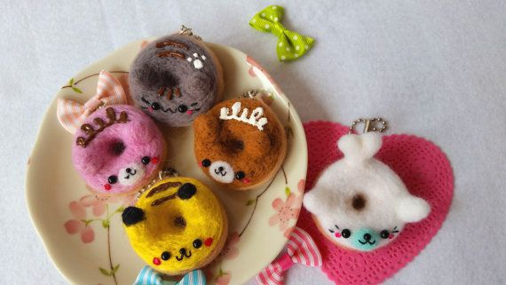 Donut Keychain Figure Donut Charm Kawaii Donuts by dazedcrafter Kawaii Needle Felt