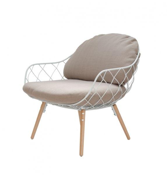 Designerski fotel Metal Lounge beż