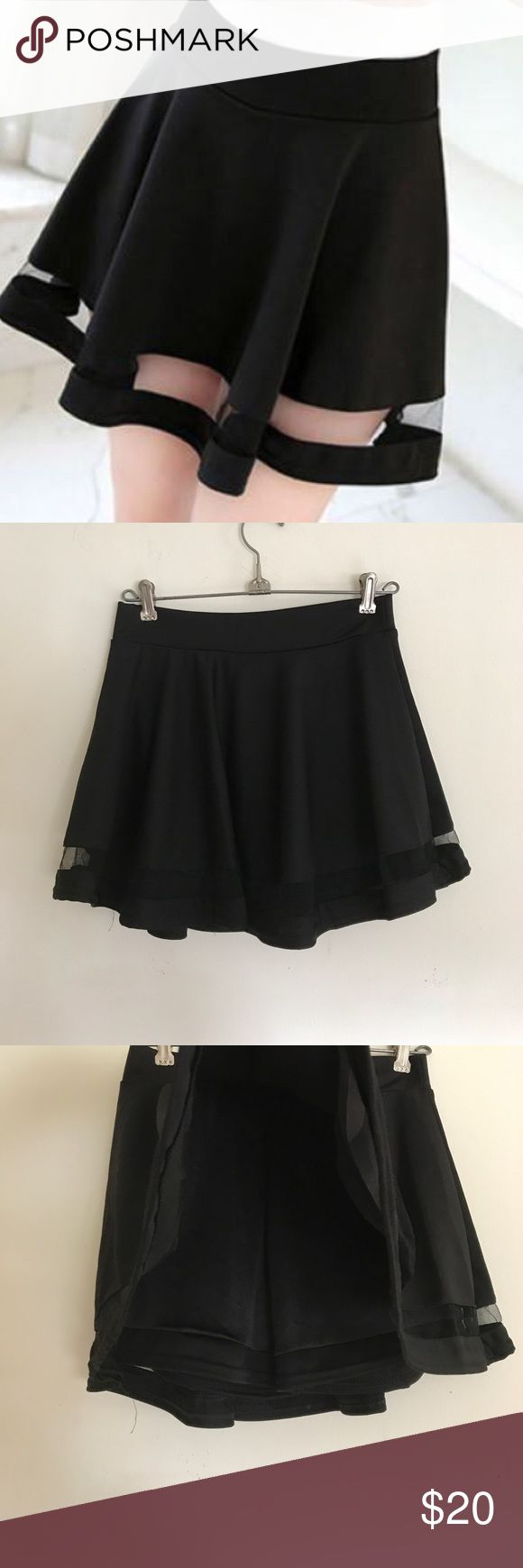 Korean See Through Panel Skort From syndromestore, sold as Korean fashion Summer See-Through Skirt. Built in shorts, no tags because came in plastic but never worn, best fit 0-2. Syndrome Store Skirts Circle & Skater