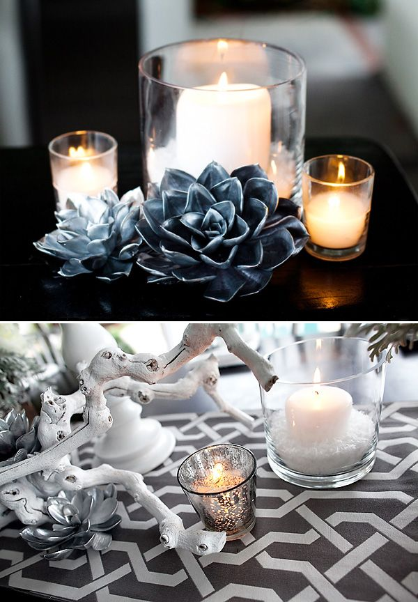 """The silver """"flowers"""" are actually succulents that are spray painted silver! Great diy idea for new years"""