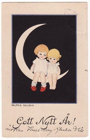 Post Card Two Cute Girls On New Years Moon by Helfrid Selldin
