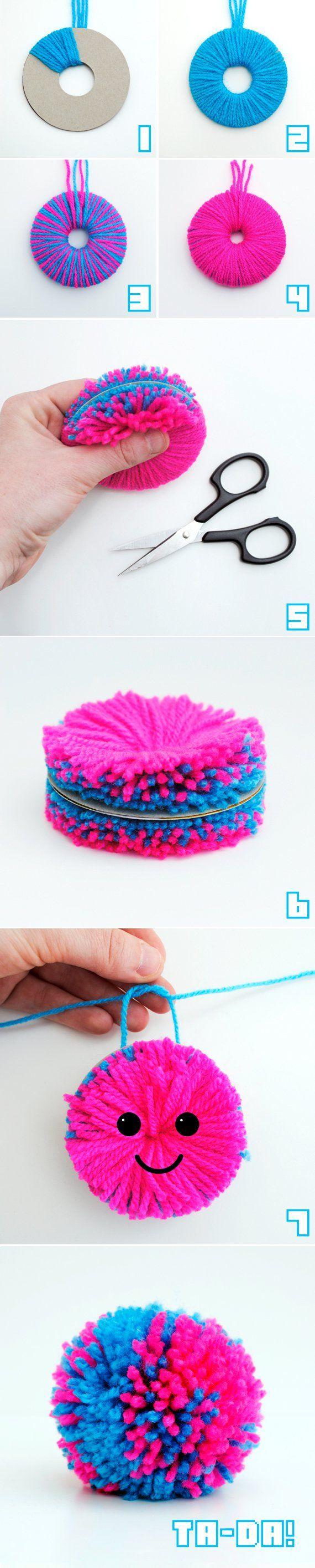 Comment fabriquer un pompon à deux couleurs!, truc, astuce, diy,