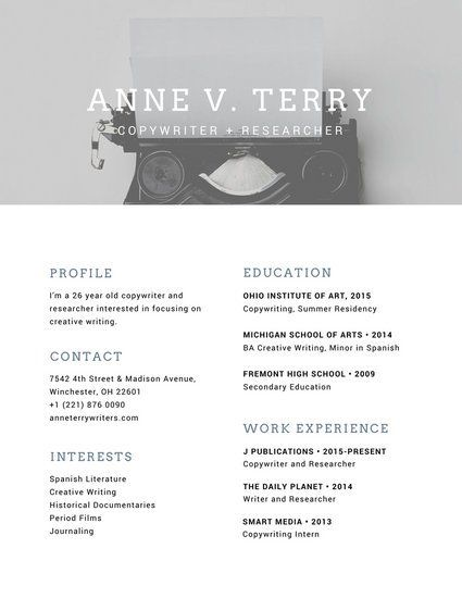 121 best CV images on Pinterest Charts, Design web and Editorial - copywriter advertising resume