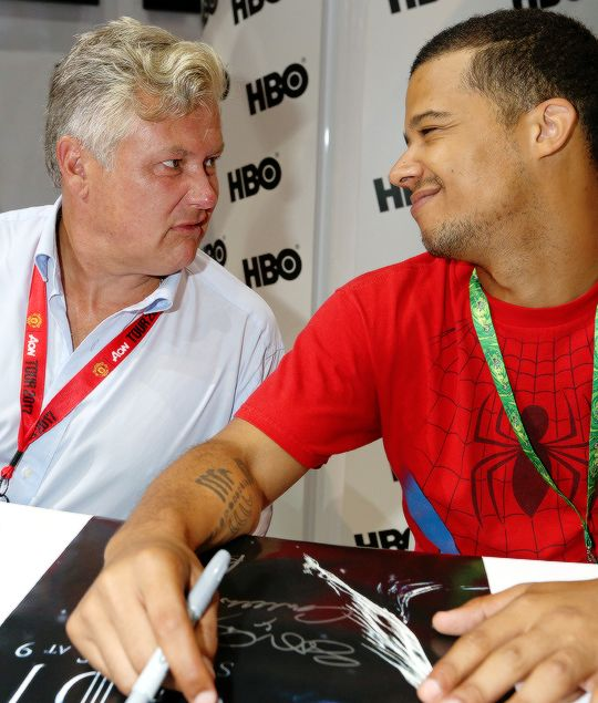 Conleth Hill and Jacob Anderson at the 'Game of Thrones' autograph signing with HBO at San Diego Comic-Con International 2017 at San Diego Convention Center on July 21, 2017 in San Diego, California.