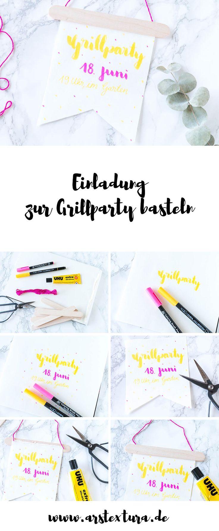 Anleitung Einladung zur Grillparty basteln - mit Handlettering